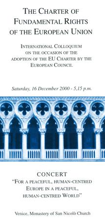 """Immagine della locandina del convegno, seguito da un concerto, intitolato """"The Charter of Fundamental Rights of the European Union"""", Monastero di San Nicolò, Venezia, 16 Dicembre 2000"""