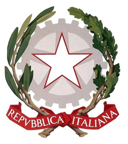 L'emblema della Repubblica Italiana, adottato il 5 maggio 1948, caratterizzato da tre elementi: la stella, la ruota dentata, i rami di ulivo e di quercia.