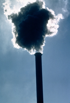 Air pollution coming from an industrial building in New York City.