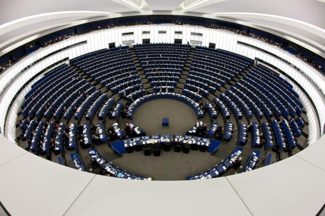 General view of the the European Parliament hemicycle, Strasbourg, 2009