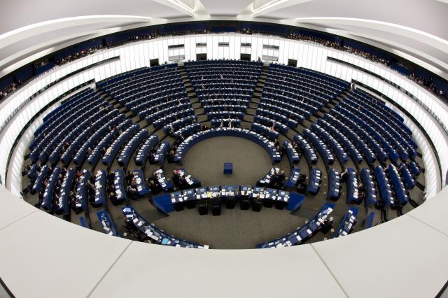 Vista dall'alto dell'emiciclo del Parlamento Europeo, Strasburgo, 2009