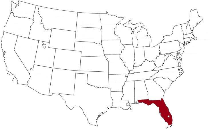 La Florida evidenziata nella mappa degli Stati Uniti