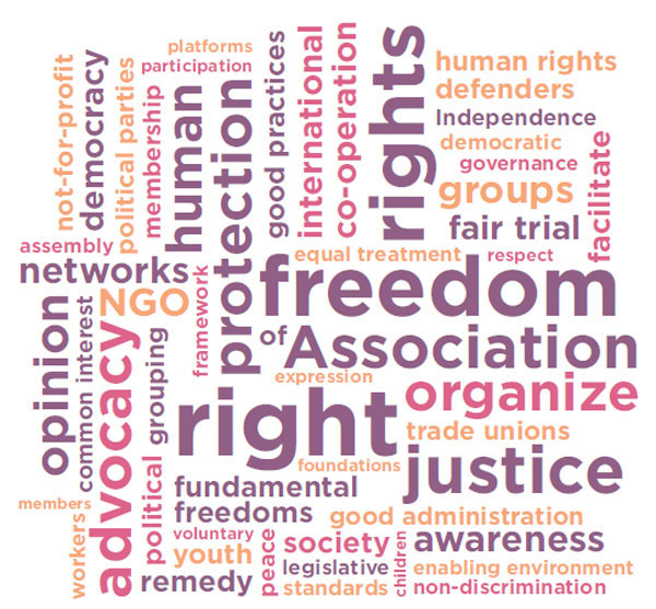 Composizione grafica riportante l'elencazione di diversi diritti umani.