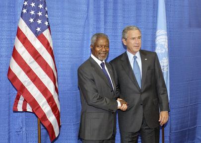 Former President of the United States George W. Bush with Former UN Secretary General Kofi Annan.
