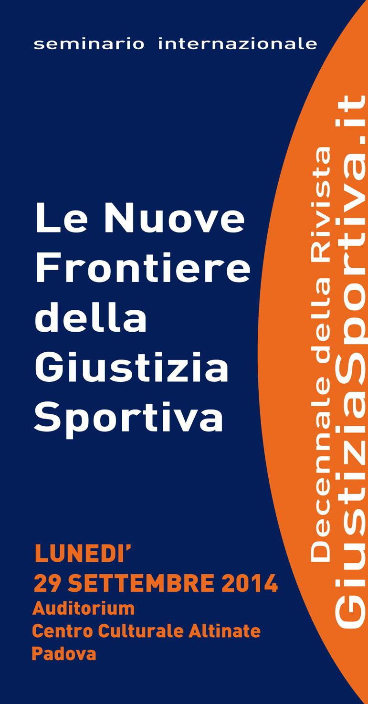 Locandina del seminario internazionale Le nuove frontiere della Giustizia Sportiva