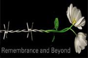 """Poster per la Giornata Internazionale della Memoria (27 gennaio). E' rappresentato un filo spinato che si trasforma in un fiore con la scritta """"Remembrance and Beyond""""."""