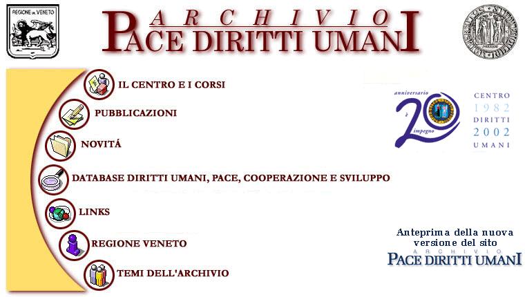 Homepage del sito web del Centro diritti umani, in linea fino al 2002. In alto la testata con i loghi istituzionali, nella parte centrale le voci di menu per l'accesso ai contenuti.