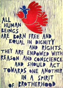 Poster con disegno e testo dell'art. 1 della Dichiarazione universale dei diritti umani.
