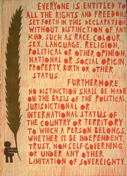 Poster con disegno e testo dell'art. 2 della dichiarazione universale dei diritti umani