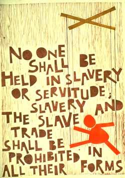Poster con disegno e testo dell'art. 4 della dichiarazione universale dei diritti umani