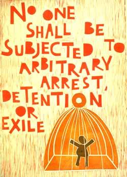 Poster con disegno e testo dell'art. 9 della dichiarazione universale dei diritti umani