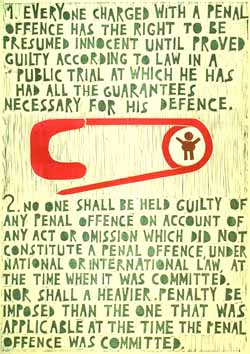 Poster con disegno e testo dell'art. 11 della Dichiarazione universale dei diritti umani.
