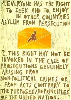 Poster con disegno e testo dell'art. 14 della Dichiarazione universale dei diritti umani.