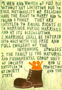 Poster con disegno e testo dell'art. 16 della Dichiarazione universale dei diritti umani.