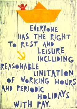 Poster con disegno e testo dell'art. 24 della Dichiarazione universale dei diritti umani.