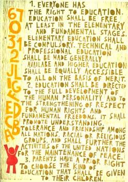 Poster con disegno e testo dell'art. 26 della Dichiarazione universale dei diritti umani.