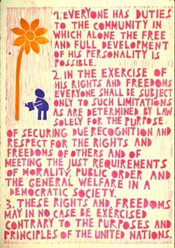 Poster con disegno e testo dell'art. 29 della Dichiarazione universale dei diritti umani.