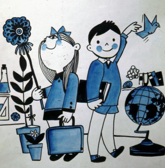 Poster dell'UNESCO con disegni di bambini e simboli scolastici