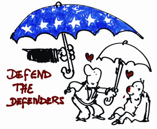 Cartoon of a Human Rights Defender offering an umbrella to an injured person, with an umbrella with the European stars being offered in turn to them