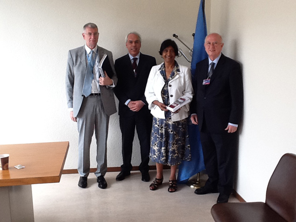From left: Gianni Magazzeni, OHCHR; Marco Mascia, Director of the Human Rights Centre of the University of Padua; ; Navanethem Pillay, UN High Commissioner for Human Rights; Antonio Papisca, Director of the Italian Yearbook of Human Rights