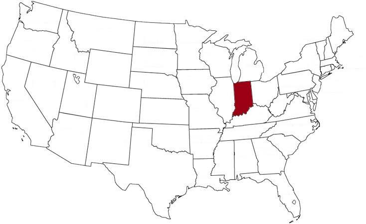 L'Indiana evidenziato nella mappa degli Stati Uniti
