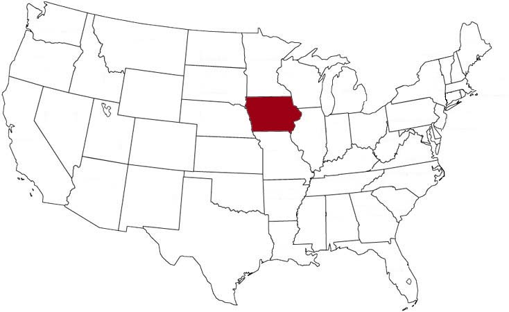 Iowa is highlighted on the U.S. map.
