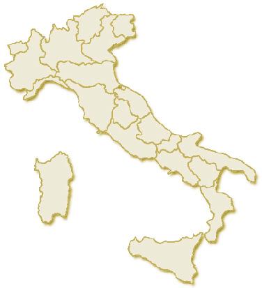 Immagine geografica dell'Italia, suddivisa con i confini delle 20 regioni
