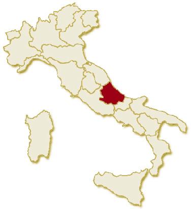 Immagine politica dell'Italia, suddivisa nelle 20 regioni, su sfondo chiaro con evidenziata in rosso l'area del territorio della Regione Abruzzo.