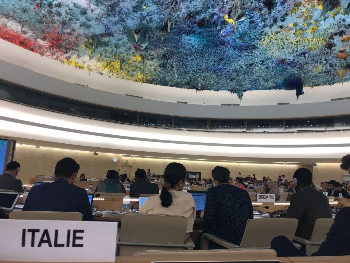 Foto del seggio dell'Italia durante una seduta del Consiglio diritti umani delle Nazioni Unite