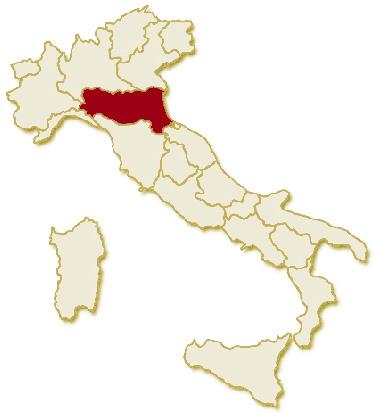 Carta geografica politica dell'Italia, suddivisa con i confini delle 20 regioni, su sfondo chiaro con evidenziata in rosso l'area del territorio della Regione Emilia Romagna.