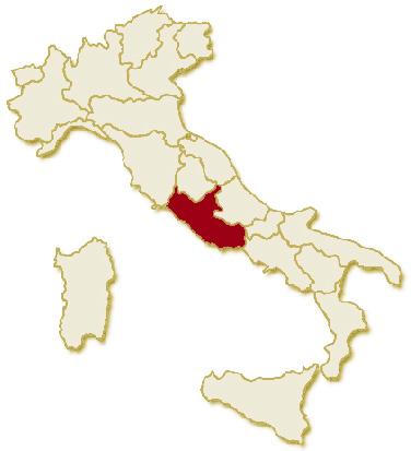 Carta geografica politica dell'Italia, suddivisa con i confini delle 20 regioni, su sfondo chiaro con evidenziata in rosso l'area del territorio della Regione Lazio.