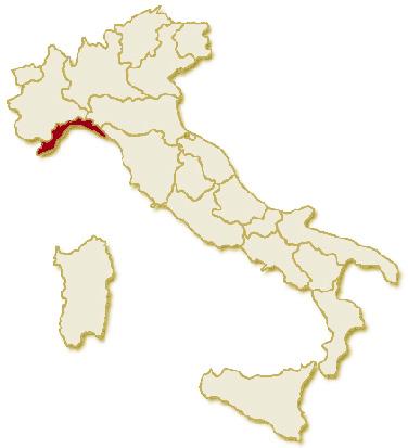 Carta geografica politica dell'Italia, suddivisa con i confini delle 20 regioni, su sfondo chiaro con evidenziata in rosso l'area del territorio della Regione Liguria.