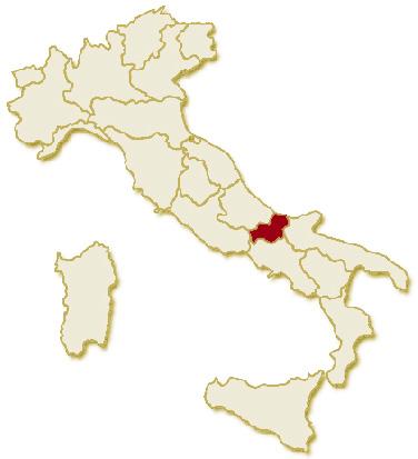 Carta geografica politica dell'Italia, suddivisa con i confini delle 20 regioni, su sfondo chiaro con evidenziata in rosso l'area del territorio della Regione Molise