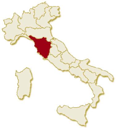 Carta geografica politica dell'Italia, suddivisa con i confini delle 20 regioni, su sfondo chiaro con evidenziata in rosso l'area del territorio della Regione Toscana.