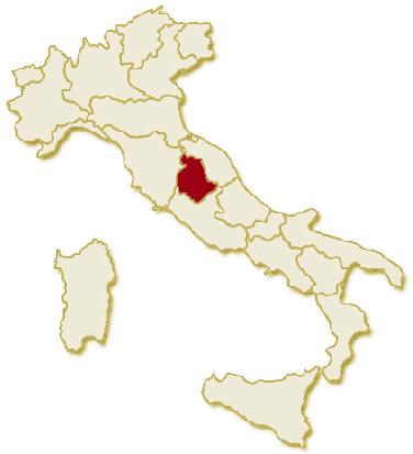 Carta geografica politica dell'Italia, suddivisa con i confini delle 20 regioni, su sfondo chiaro con evidenziata in rosso l'area del territorio della Regione Umbria.