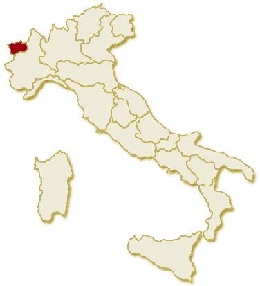 Carta geografica politica dell'Italia, suddivisa con i confini delle 20 regioni, su sfondo chiaro con evidenziata in rosso l'area del territorio della Regione Valle D'Aosta.