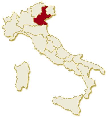 Carta geografica politica dell'Italia, suddivisa con i confini delle 20 regioni, su sfondo chiaro con evidenziata in rosso l'area del territorio della Regione Veneto.