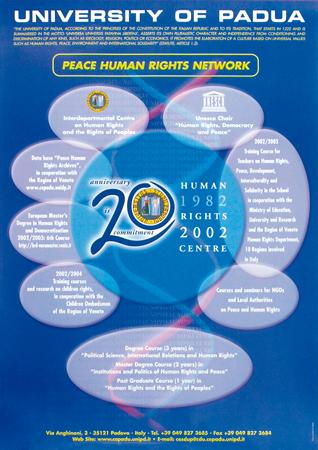"""Locandina """"Peace human rights network"""" che riassume le varie attività del Centro Diritti Umani realizzata nel 20° anniversario, 2002"""