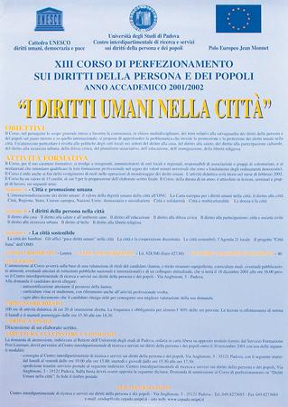 """Immagine della locandina del XIII Corso di Perfezionamento sui diritti della persona e dei popoli """"I diritti umani nella città"""", Padova, 2001"""