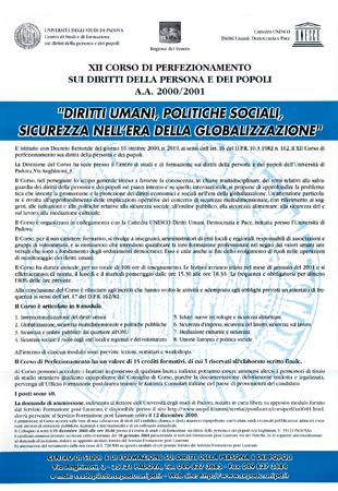 """Locandina del XII Corso di Perfezionamento sui diritti della persona e dei popoli """"Diritti umani, politiche sociali, sicurezza nell'era della globalizzazione"""", Padova, 2000"""