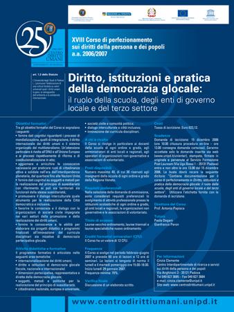 """Immagine della locandina del XVIII Corso di Perfezionamento """"Diritto istituzioni e pratica della democrazia glocale"""", Padova, A.A. 2006/2007"""