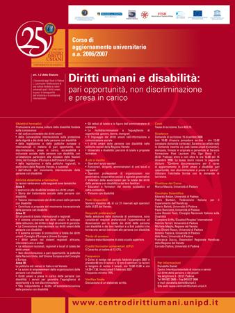 """Locandina del corso di aggiornamento """"Diritti umani e disabilità: pari opportunità, non discriminazione e presa in carico"""", Padova, 2006"""
