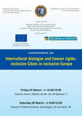 """Locandina del convegno """"Dialogo interculturale e diritti umani: Città inclusive in una Europa inclusiva"""", Università di Padova, 24-25 marzo 2006."""