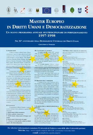 Immagine della locandina di presentazione del Master Europeo in Diritti Umani e Democratizzazione, anno accademico 1997 - 1998.