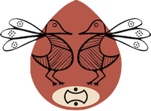 Logo del convegno dove è rappresentato un uovo con due uccelli al suo interno