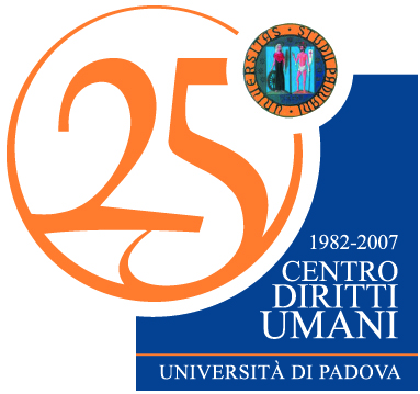 Logo for the 25th Anniversary of the Human Rights Center of the University of Padua (1982-2007).