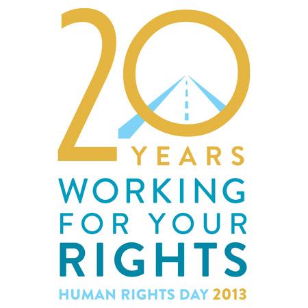 """Logo Giornata internazionale dei diritti umani 2013 """"20 Years working for your rights"""""""