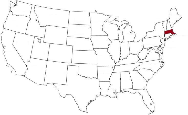 Il Massachusetts evidenziato nella mappa degli Stati Uniti