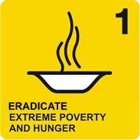 Logo del primo degli Obiettivi ONU di Sviluppo del Millennio, Sradicare la povertà estrema e la fame; raffigura un piatto fumante su sfondo giallo.