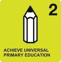 Logo del secondo degli Obiettivi ONU di Sviluppo del Millennio, Raggiungere l'istruzione universale; raffigura una matita stilizzata su sfondo verde acido.